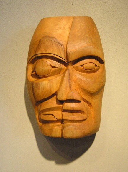 "Split personality Wood Mask James Madison Tlingit-Tulalip 9"" x 7"" x 3"" Yellow cedar"