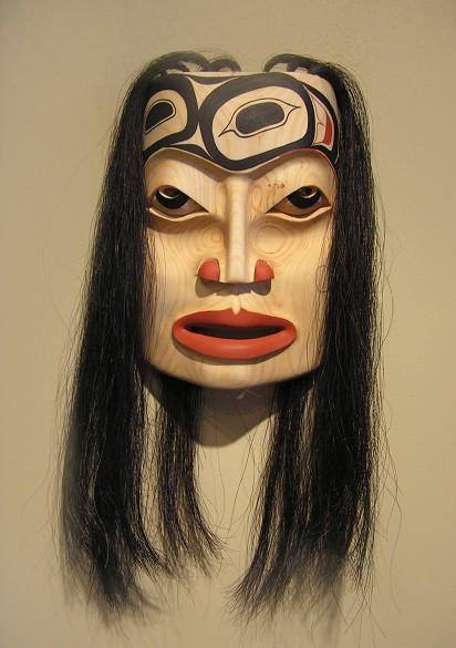 "The Great Plan Mask John Wilson Haisla Alder and horse hair 9"" x 7"" x 3"""
