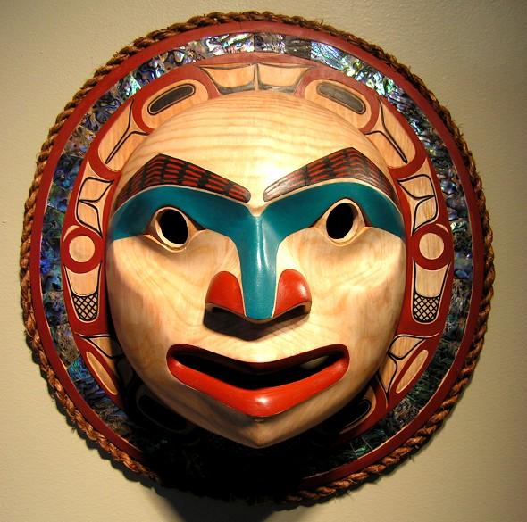 "moon mask David Boxley Tsimshian 14.5"" diameter x 5"" deep Alder & abalone"