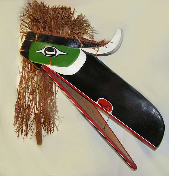 "Raven Headdress Ned Matilpi Kwagiulth Cedar 29"" x 34"" x 6"""