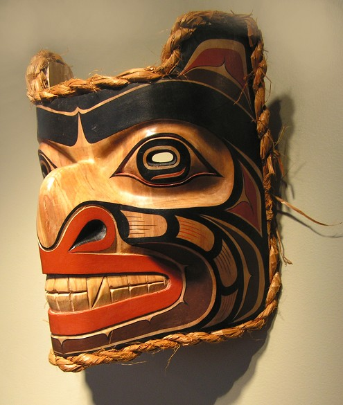 "Bear mask Randy Stiglitz Coast Salish Cedar 13.5"" x 11"" x 8"""