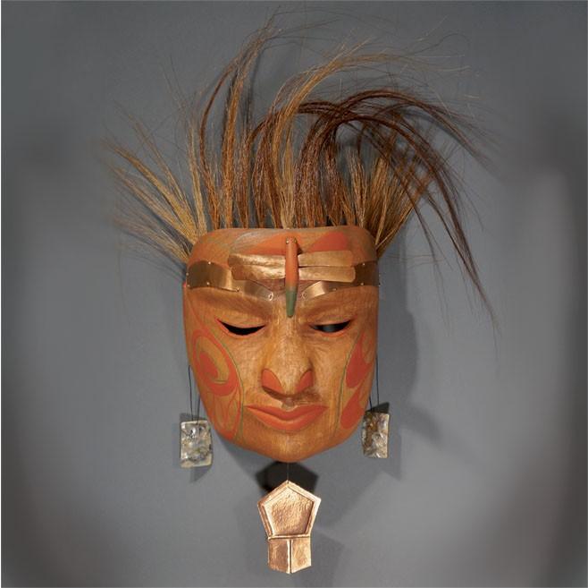 "Baby Mask Rande Cook Kwakwaka'wakw red cedar, acrylic paint, copper, abalone, horse hair 18""H x 14""W x 5.5""D"