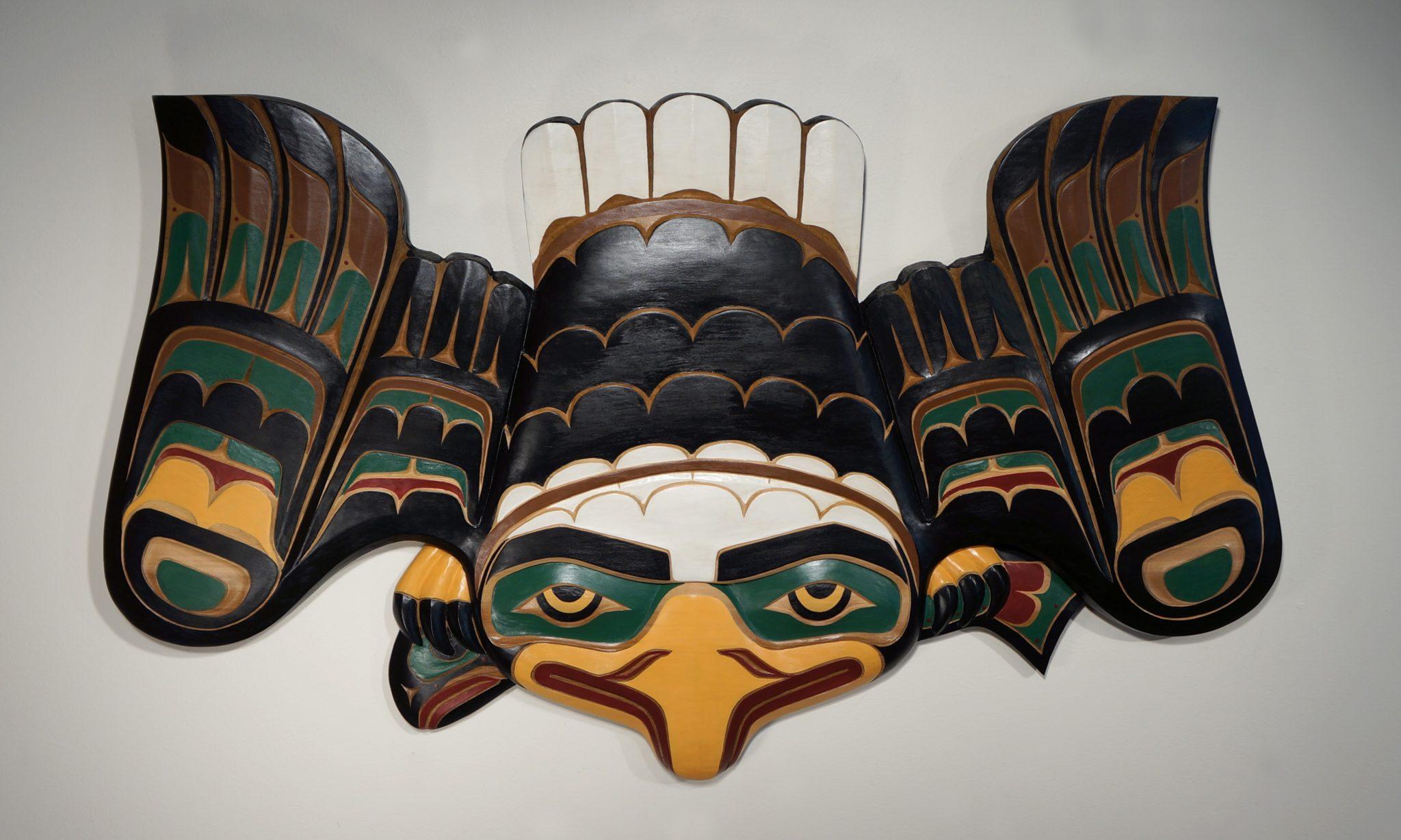 """Eagle and Salmon Greg Henderson Kwakwaka'wakw Red Cedar & Paint 44.5""""H x 26""""W x 2""""D"""