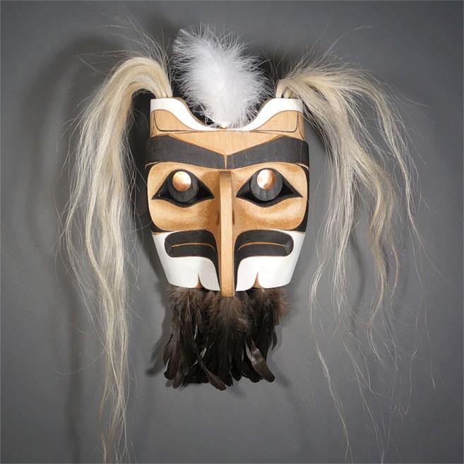 "Eagle Mask Rande Cook Kwakwaka'kwaw red cedar, acrylic paint, horse hair, copper, feathers 24""H x 15""W x 7""D"