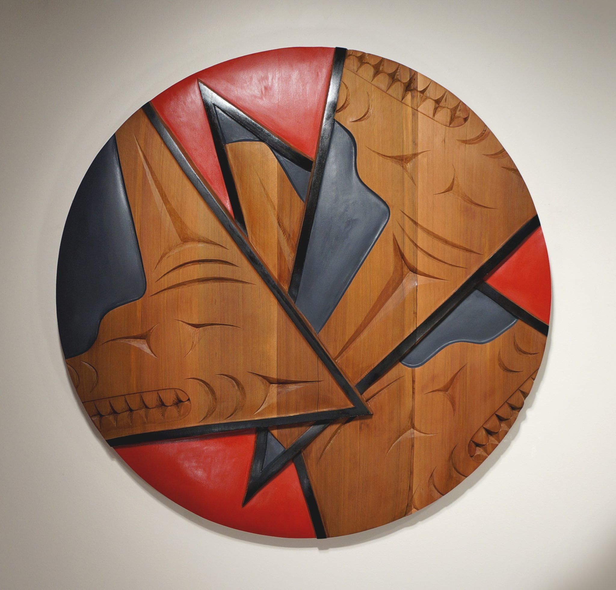 """Three Wolf Brothers James Madison Salish & Tlingit Red Cedar & Paint 36""""H x 36""""W x 2.5""""D"""