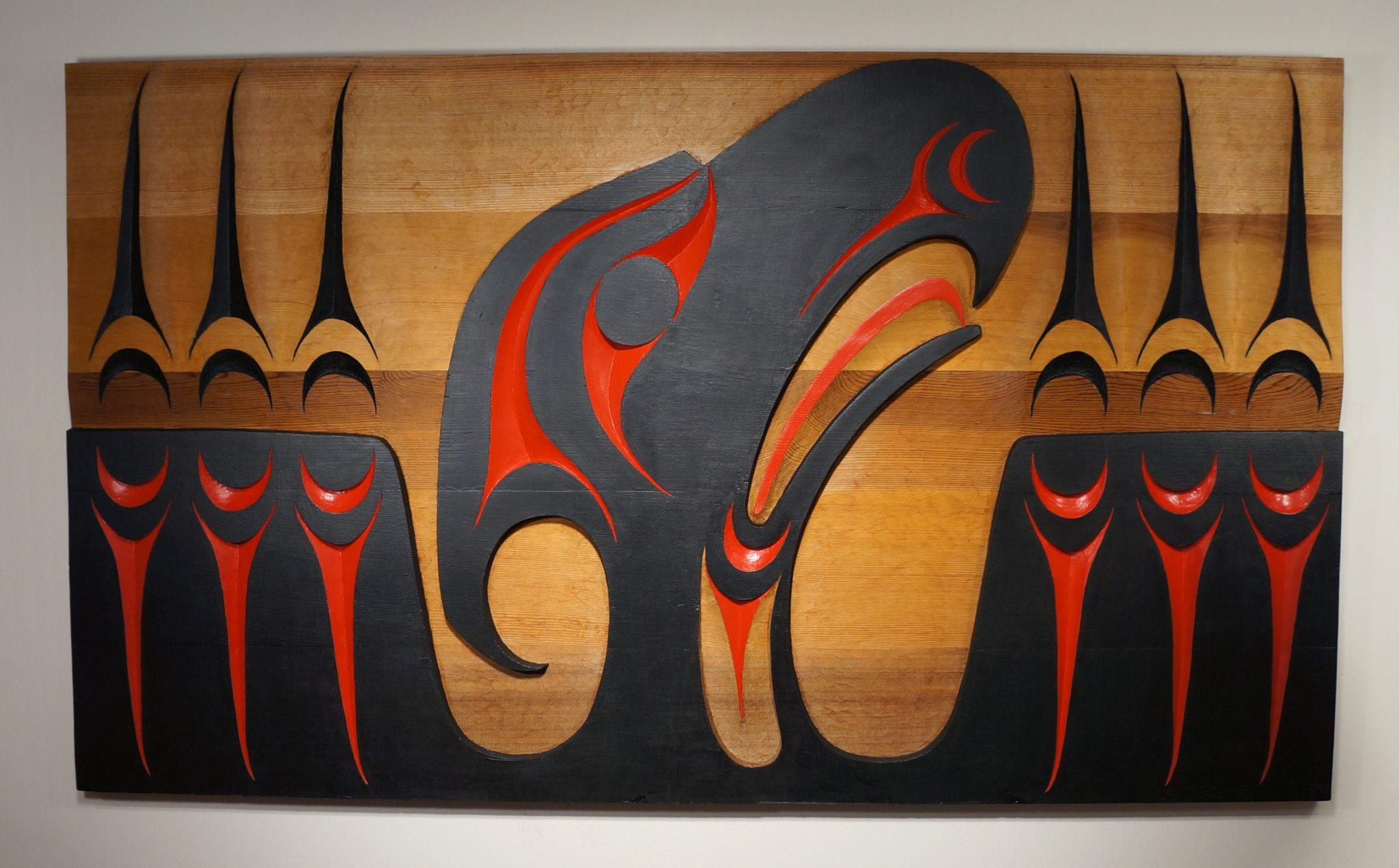 "Thunderbird Panel Leslie Wells Salish Red Cedar & Paint 59.25""H x 24.5""W x 1.5""D"