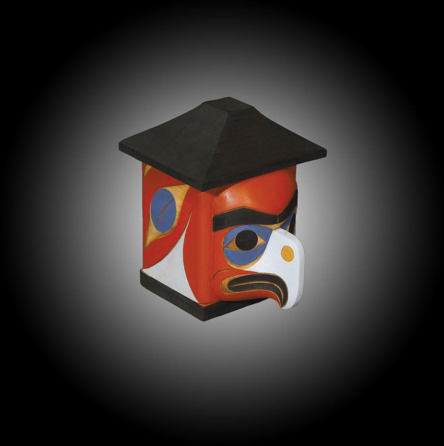 "Eagle Healing Box Rande Cook Kwakwaka'wakw red cedar, acrylic paint 6.5""H x 5""W x 6""D"