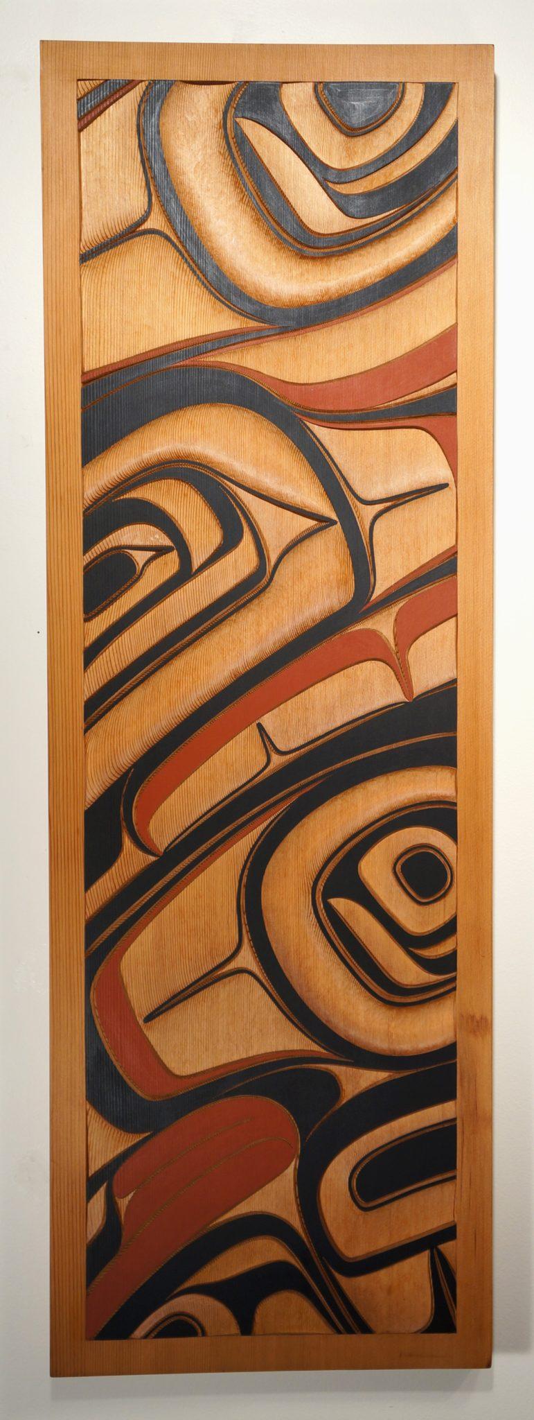 "Raven Panel Phil Gray Tsimshian Red Cedar & Paint 46.75""H x15.75""W x 2""D"