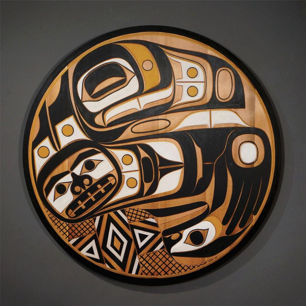"Raven's Tail Panel Rande Cook Kwakwaka'wakw red cedar, acrylic paint 32"" diameter x 1.5""D"