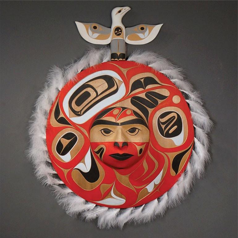 """Seagull and Moon Panel Rande Cook Kwakwaka'wakw red cedar, acrylic paint, feathers 34""""H x 26""""W x 5.5""""D"""