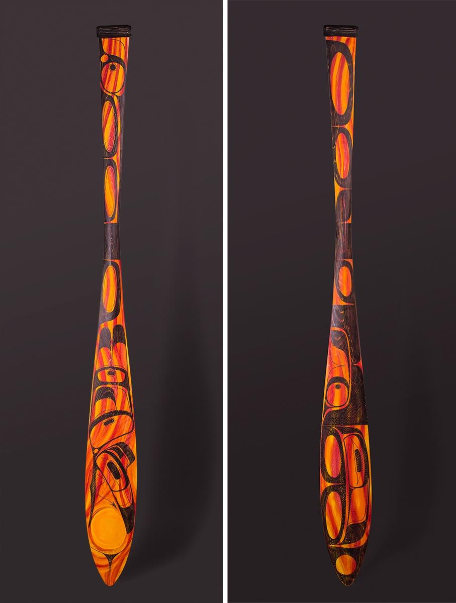 "Permanent Change Paddle Ian Ried Heiltsuk Reclaimed red cedar, paint 61"" x 6"" x 1 ¼"""