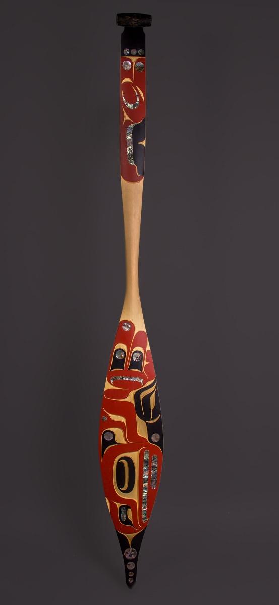 "Thunderbird Paddle Moy Sutherland Nuu-Chah-Nulth Yellow Cedar, Paint, Abalone 64"" x 7 ¼"" x 1 ½"""