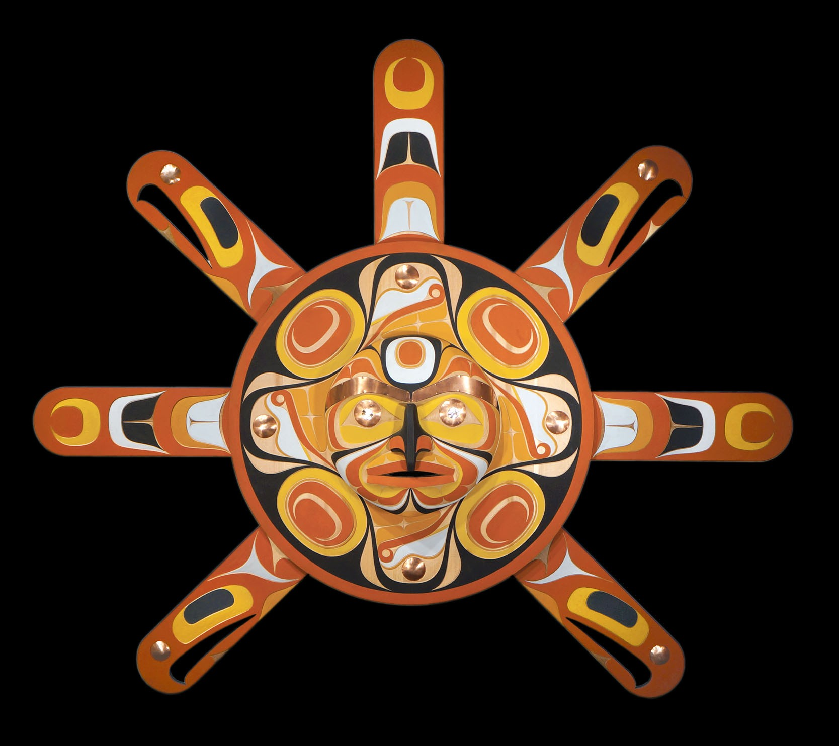 "Sun Mask Rande Cook Kwakwaka'wakw red cedar, acrylic paint, abalone, copper 53""H x 63""W x 6""D"