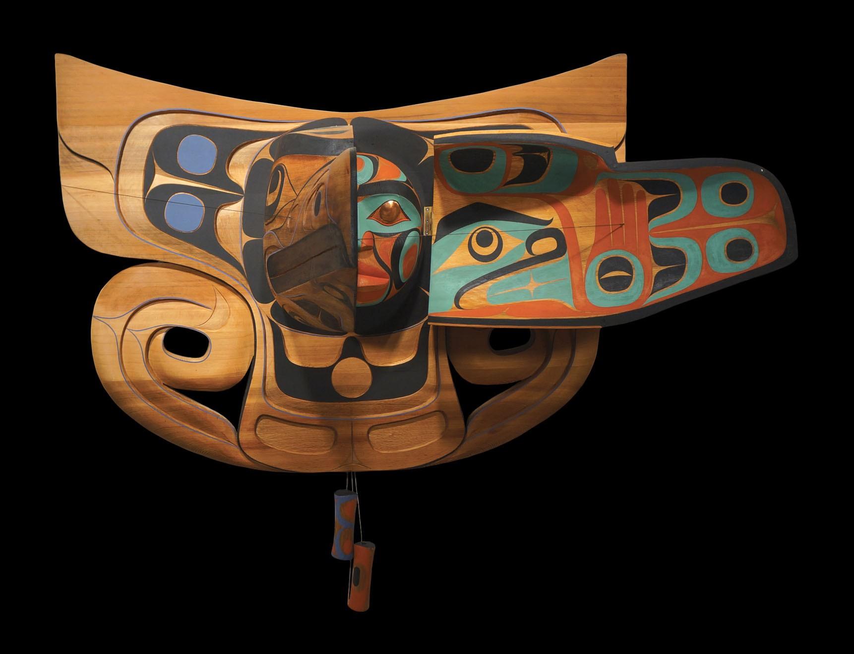 "Raven and Human Transformation Mask Rande Cook Kwakwaka'wakw red cedar, acrylic paint, copper, twine 35""H x 44""W x 34""D"