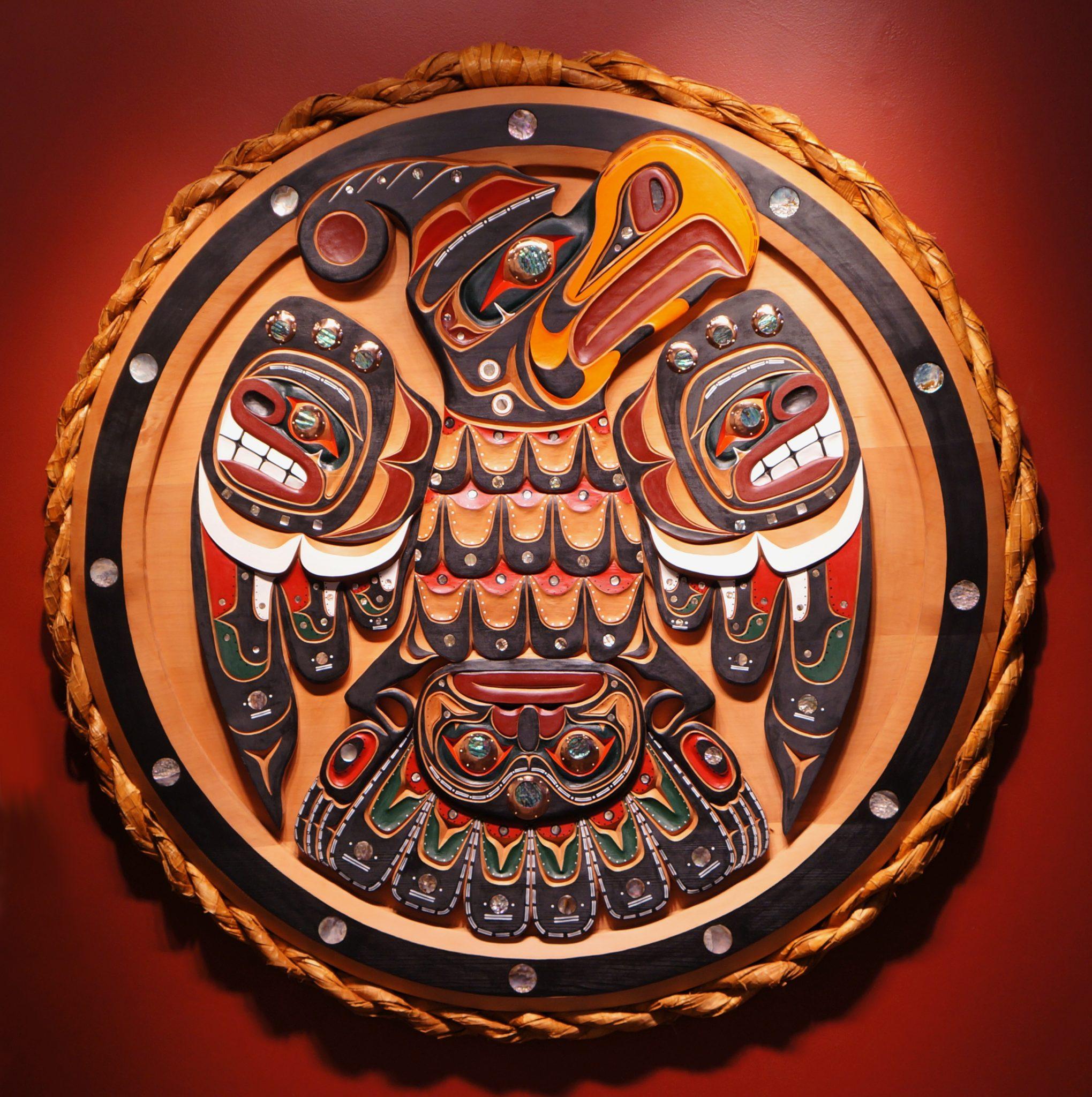 "thunderbird panel Troy Roberts Kwakwaka'wakw Red cedar, Acrylic Paint, Abalone & Copper 52"" Diameter x 2.5"""