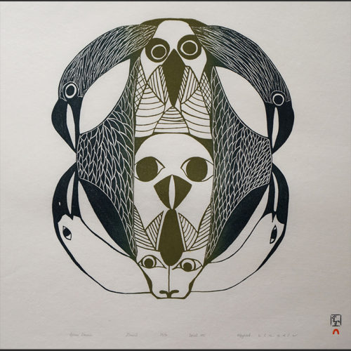 "Ravens Domain Mayoreak Ashoona Inuit Cape Dorset Stonecut c. 1995 #25/50 25""W x 22""H raven raven's ravens domain mayoreak ashoona cape dorset inuit nunavut canada canadian print stonecut birds"