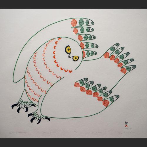 "Uppik Quviasuttuq Festive Owl Ningeokuluk Teevee Inuit Cape Dorset Stonecut & Stencil c. 2006 #38/50 28""W x 24.5""H uppik quviauttuq festive owl ningeouluk teevee inuit cape dorset nunavut canada canadian print stonecut stencil 2006"