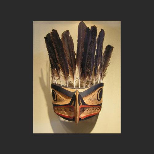 "Baby Hawk Mask James Madison Tlingit-Tulalip 14"" x 9"" x 11.5"" Cedar and feathers"