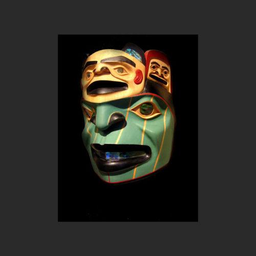 "Bear Clan Mask Norman Jackson Tlingit Alder and abalone 10.5"" x 8.5"" x 4.5"""