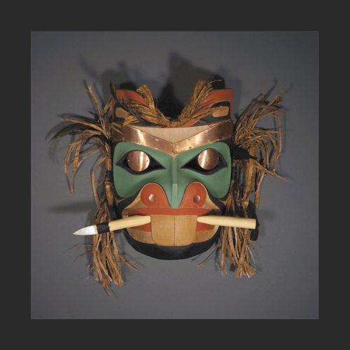 "Beaver Mask Rande Cook Kwakwaka'wakw red cedar, acrylic paint, steel, twine 14""H x 17""W x 4.5""D"