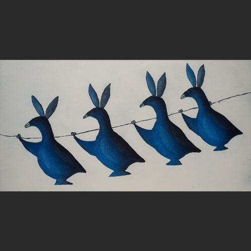 "Birds on a wire Papiara Tukiki Inuit Cape Dorset Etching & Aquatint c. 2004 #39/50 31""W x 20""H"
