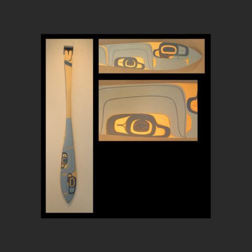 "Blue Formline Paddle Dean Heron Kaska/Tlingit Yellow Cedar, Acrylic Paint 60 x 6"" $2,000"