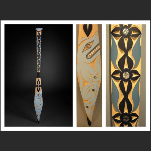 "Spirit Bear paddle Jane Kwatleematt Marston Coast Salish Yellow Cedar, Abalone, Copper, Acrylic Paint, Twine 63-1/2 x 6"""