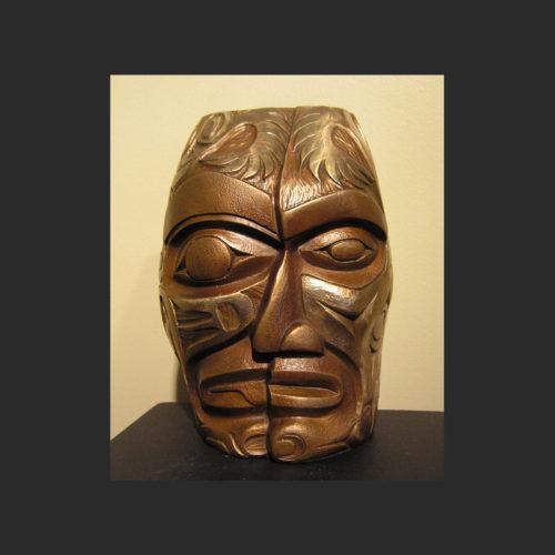 "Self Portrait II Bronze mask James Madison Tlingit-Coast Salish Cast Bronze 9"" x 7"" x 3"""
