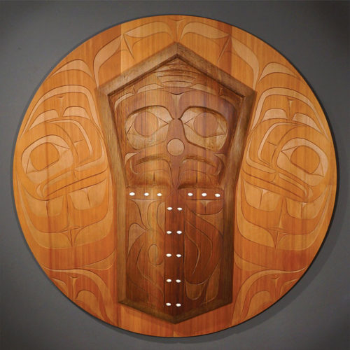 "Copper Panel Rande Cook Kwakwaka'wakw red cedar, operculum shells 42"" diameter x 2.75""D"