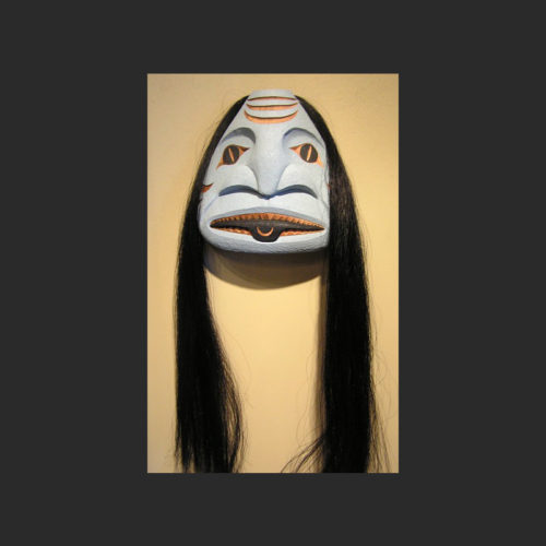 "Dogfish Mask James Madison Tlingit-Tulalip Cedar and horse hair 10"" x 9"" x 4"""