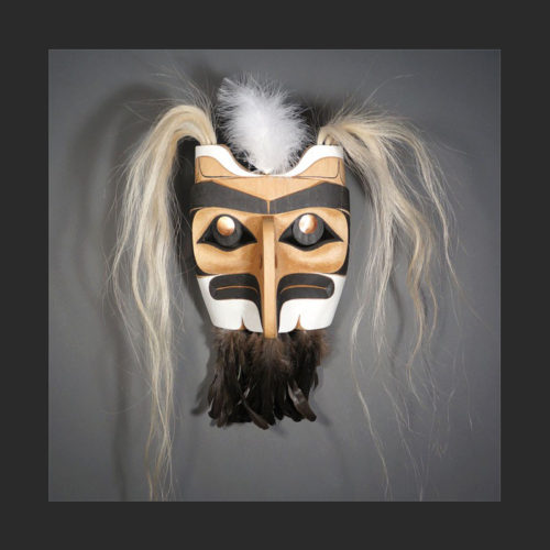 "Eagle Mask Rande Cook Kwakwaka'kwaw red cedar, acrylic paint, horse hair, copper, feathers 24""H x 15""W x 7""D"