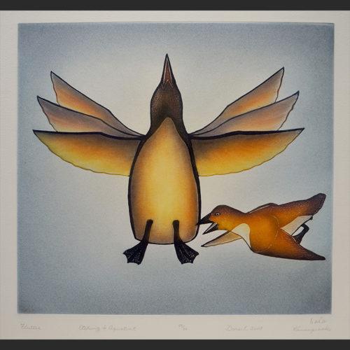 """FLUTTER Kananginak Pootoogook Inuit Cape Dorset Etching & Aquatint c. 2010 #29/50 23.25""""W x 22.25""""H flutter etching aquatint kananginak pootoogook inuit cape dorset nunavut print 2010 birds"""