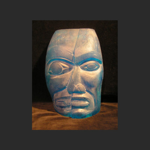 Split Personality Portrait Mask James Madison Tlingit-Tulalip Cast glass