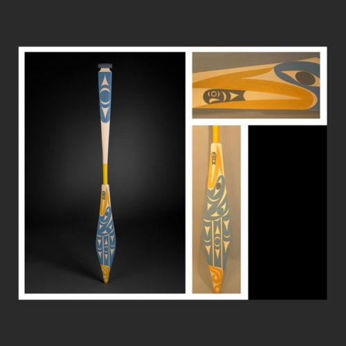 "blue heron paddle Maynard Johnny Jr. Coast Salish Yellow Cedar, Acrylic Paint 61-3/4 x 5-3/4"""