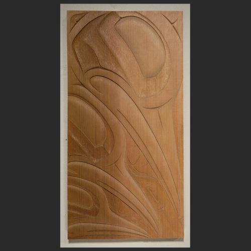 "Hummingbirds panel Troy Bellerose Cree Red Cedar 18.5""H x 9.75""w x .75""D"
