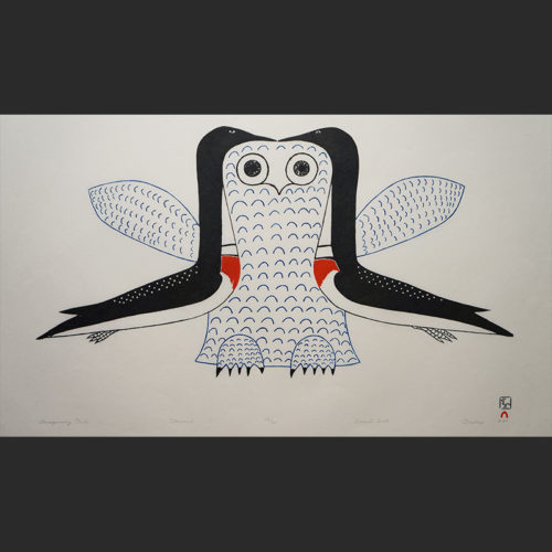 "Imaginary Owl Ohotaq Mikkigak Inuit Cape Dorset Stonecut c. 2005 #45/50 31""W x 21.75""H ohotaq mikkigak inuit cape dorset nunavut canada canadian print stonecut 2005 imaginary owl"