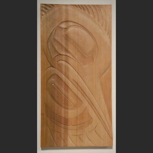 "Kingfisher panel Troy Bellerose Cree Red Cedar 19.75""H x 9.5""W x .75""D"