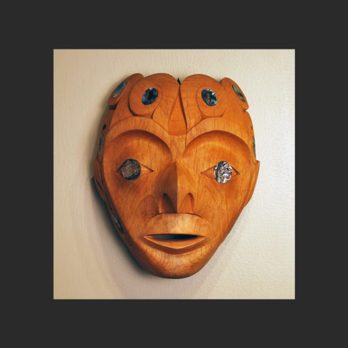 """Octopus Mask Gordon Dick Nuu-chah-nulth Alder and abalone 11"""" x 9"""" x 6"""""""
