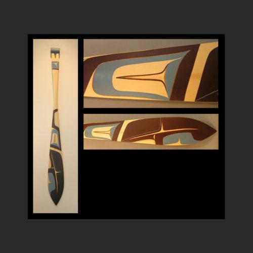 "Open Waters Paddle Dean Heron Kaska/Tlingit Yellow Cedar, Acrylic Paint 60 x 6"""