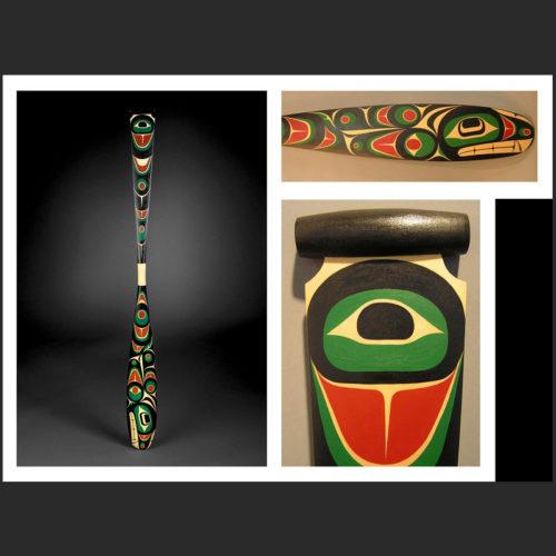"orca paddle Darryll Dawson Jr. Kwakwaka'wakw Yellow Cedar, Acrylic Paint 61-1/2 x 5-3/4"""
