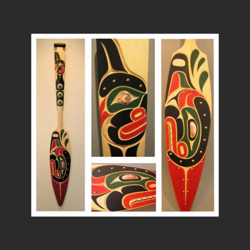 "Orca Paddle Junior Henderson Kwakwaka'wakw Yellow Cedar, Copper, Brass, Acrylic Paint 61 x 8"""