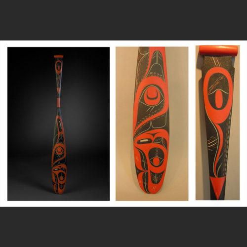 """orca paddle Rande Cook Kwakwaka'wakw Red Cedar, Acrylic Paint 52-1/2 x 5-5/8"""""""
