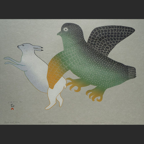 """Owl and Hare Mialia Jaw Inuit Cape Dorset Stonecut & Stencil c. 2004 #27/50 25""""W x 20"""" owl and hare mialia jaw inuit cape dorset nunavut print stonecut stencil 2004"""