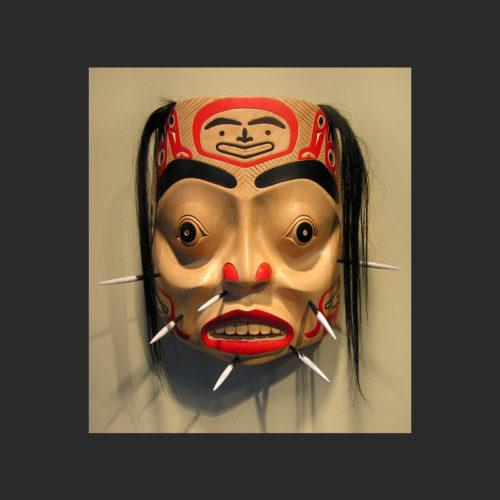"Porcupine Man Mask Mike Epp Tsimshian Alder and horse hair 10.5"" x 8.5"" x 6"""