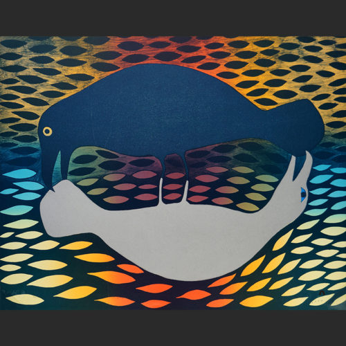 "Kenojuak Ashevak Inuit Cape Dorset Lithograph c. 2001 #35/50 27.25""W x 2175""H primal exchange kenojauk ashevak inuit cape dorset nunavut canada canadian print lithograph 2001 birds ravens colorful"