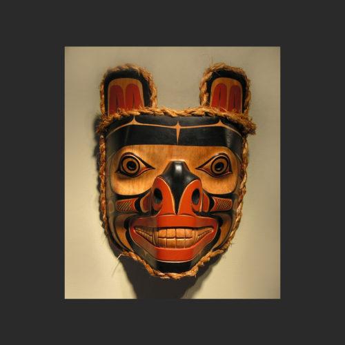 "Bear Mask Randy Stiglitz Coast Salish Cedar 12.5"" x 10"" x 5.5"""