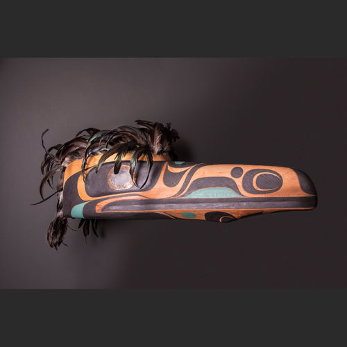 "Raven Headdress Rande Cook Kwakwaka'wakw red cedar, acrylic paint, copper, feathers 17""H x 35""L x 12""W"