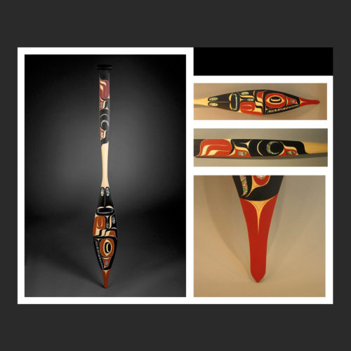 """Eagle Paddle Morris (Moy) Sutherland Nuu-chah-nulth Yellow Cedar, Abalone, Acrylic Paint 64 x 7"""" Moy Sutherland, eagle paddle, Nuu-Chah-Nulth, abalone inlay, hand-cut, yellow cedar, red and black paint, Steinbrueck Native Galerry, native art, canoe journey, Art Thompson, mask, panel, bentwood boxes"""
