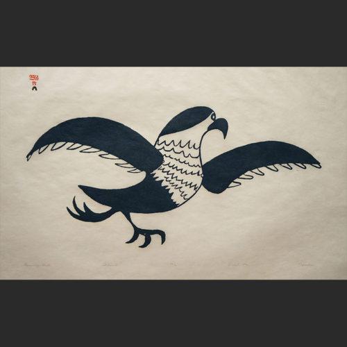 "Running GullNapachie Pootoogook Inuit Cape Dorset Stonecut c. 1970 #38/40 30""W x 20""H napachie pootoogook running gull inuit cape dorset nunavut canada canadian 1970 simple timeless classic stonecut print"