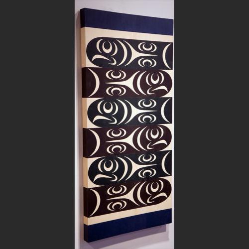 "Salmon and Cedar panel LessLIE Sam Coast Salish Yellow cedar & paint 46""H x 22""W x 1.75""D Sold"